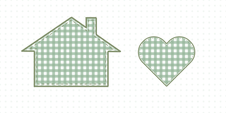 House and heart, needlework. Cute Baby Style Artwork. Vector