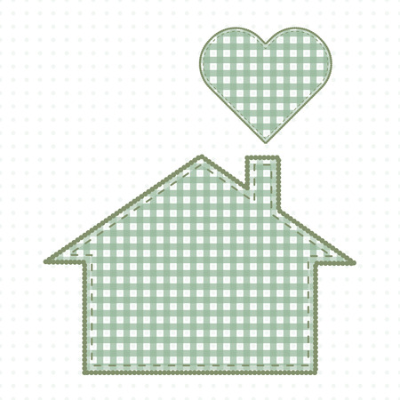 House and heart, needlework. Cute Baby Style Artwork Vector