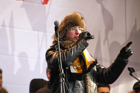 nationalist: Nationalist Aleksandr Belov Potkin on the stage of opposition rally
