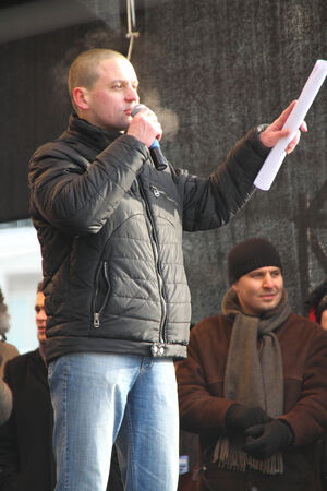 political prisoner: Politician Sergei Udaltsov on the stage of opposition rally