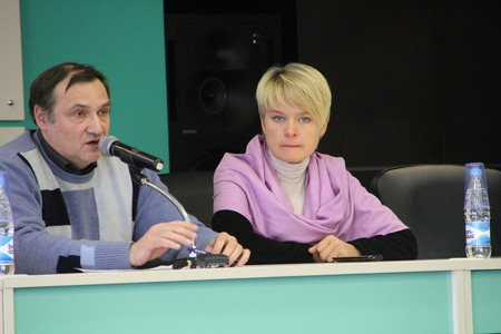 Moscow, Russia - February 11, 2012. Expert Andrei Buzin and policies Evgeniya Chirikova. Conference on the set of observers to the elections. Hotel Izmailovo