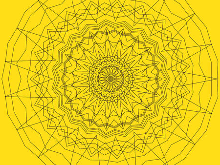 background black: Abstract geometric shape background. Black lines on a yellow background