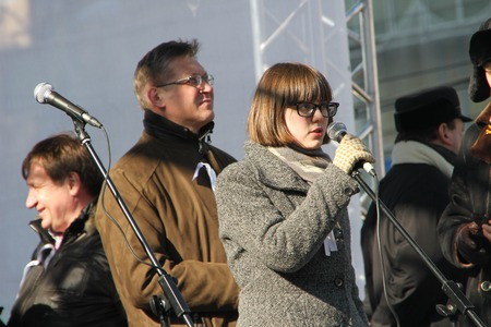 mp: Moscow, Russia - March 10, 2012. Municipal MP Vera Kichanova on an opposition rally on election results Editorial