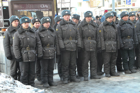 Moscow, Russia - March 10, 2012. Soldiers of the internal troops in the cordon around the opposition rally Editorial