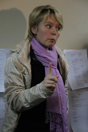 electoral: Khimki, Moscow region, Russia - October 14, 2012. Candidate for mayor of Khimki opposition Evgeniya Chirikova says journalists about electoral violations. On election day in the suburban town of Khimki broke sharp competition between the candidate of the
