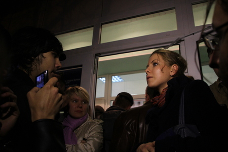 observers: Khimki, Moscow region, Russia - October 14, 2012. Election observers Lubov Sobol tells the press about violations at its polling. On election day in the suburban town of Khimki broke sharp competition between the candidate of the Kremlin Oleg Shahov and r Editorial