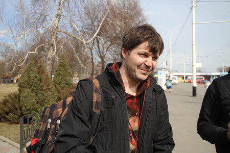 Krasnodar, Russia - March 23, 2012. Journalist Andrew Kozenko in Krasnodar airport while traveling together with environmentalists to the cottage Governor Tkachev Editorial