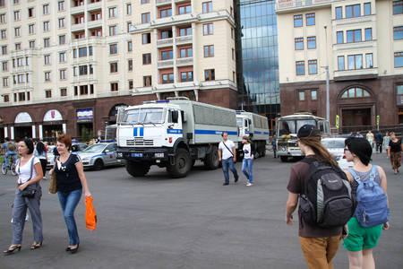 opposition: Moscow, Russia - July 18, 2013. Police cars near the venue of the opposition campaign. Thousands of Muscovites went on this day in support of arrested opposition leader Alexei Navalny Editorial
