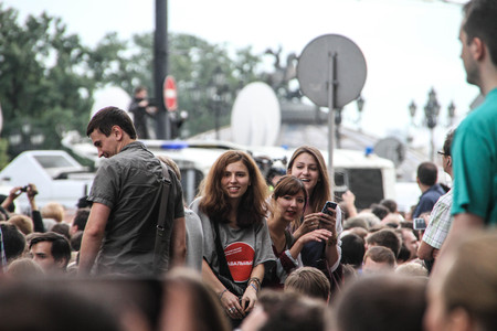 opposition: Moscow, Russia - July 18, 2013. Unknown opposition to action in support of Alexei Navalny. Thousands of Muscovites went on this day in support of arrested opposition leader Alexei Navalny