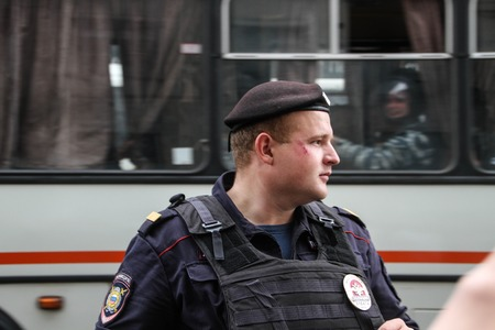 area of conflict: Moscow, Russia - July 18, 2013. Russian police during the opposition rally on Manezh square. Thousands of Muscovites went on this day in support of arrested opposition leader Alexei Navalny