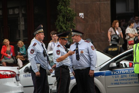 opposition: Moscow, Russia - July 18, 2013. Russian police during the opposition rally. Thousands of Muscovites went on this day in support of arrested opposition leader Alexei Navalny Editorial