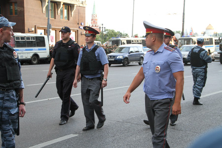 area of conflict: Moscow, Russia - July 18, 2013. Russian police during the opposition rally. Thousands of Muscovites went on this day in support of arrested opposition leader Alexei Navalny Editorial