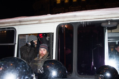 oppositional: Moscow, Russia - December 30, 2014. In day of a sentence to the oppositional leader Alexei Navalny and his brother Oleg Navalny Muscovites came to a protest action to Manezhnaya Square