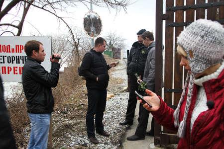 ecologists: Krasnodar region, Russia - March 23, 2012. On a policy photo Nikolay Lyaskin, Evgenia Chirikova, Igor Bakirov. Inspection ecologists near the Governor