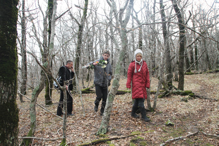 Krasnodar region, Russia - March 23, 2012. Inspection ecologists near the Governor