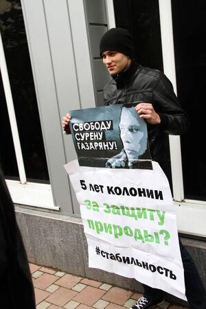 ecologists: Tuapse, Krasnodar region, Russia - March 23, 2012. The ecological activist on picket in support of the arrested Suren Gazaryan