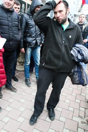 under arrest: Tuapse, Krasnodar region, Russia - March 23, 2012. The ecologist Suren Gazaryan just left from under arrest