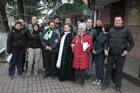 ecologists: Tuapse, Krasnodar region, Russia - March 23, 2012. Ecologists from Ecological watch across the North Caucasus are photographed after Suren Gazaryan