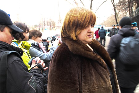 detained: Moscow, Russia - April 10, 2012. lawyer Violetta Volkova near prison where there is an arrested politician Nikolay Lyaskin. Liyaskin was detained for attempt to ustnovit protest tent on the Red Square