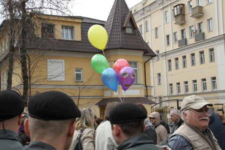unauthorized: Moscow, Russia - April 19, 2012. The balloons symbolizing the arrested participants of Pussy Riot. . Near the building of the Tagansky court to an unauthorized action there were supporters of the verdict of not guilty for arrested.