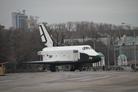astronautics: Moscow, Russia - April 19, 2012. The spaceship model the Buran spacecraft in Gorky Park in Moscow