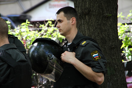 oppositional: Moscow, Russia - May 8, 2012. The police officer near a venue of an oppositional protest. Protesting against violations on elections the opposition occupied the square tease a monument to the poet to Abay, this movement received the name of Okkupay Abay