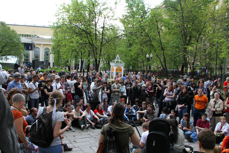 oppositional: Moscow, Russia - May 8, 2012. Protesting against violations on elections the opposition occupied the square tease a monument to the poet to Abay, this movement received the name of Okkupay Abay Editorial