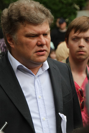 oppositional: Moscow, Russia - May 8, 2012. The Yabloko party leader Sergey Mitrokhin. Protesting against violations on elections the opposition occupied the square tease a monument to the poet to Abay, this movement received the name of Okkupay Abay Editorial