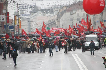 communists: Moscow, Russia - May 9, 2012. March of communists on the Victory Day.