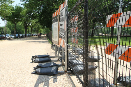 venue: Washington DC, USA - may 13, 2012. The fence enclosing the venue of works on improvement of the city Editorial