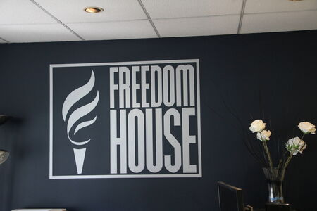 Washington DC, USA - may 17, 2012. the logo of the organization Freedom house in their office in Washington, D.C.