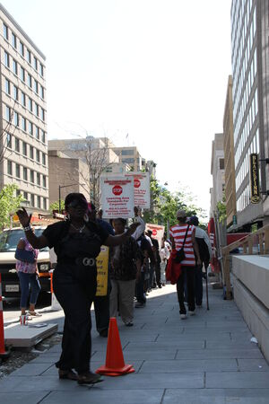 protesting: Washington DC, USA - may 18, 2012. Workers are protesting on the streets of America Editorial