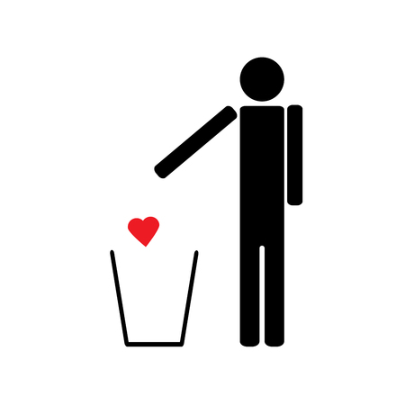 regret: The figure of a man throws a red heart in the trash love is unrequited