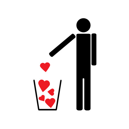 seducer: The human figure symbol throws a few red hearts like garbage Illustration
