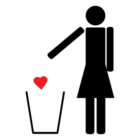 unrequited: The figure of a Woman throws a red heart in the trash love is unrequited