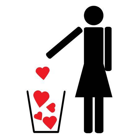 seducer: Woman figure symbol throws a few red hearts like garbage