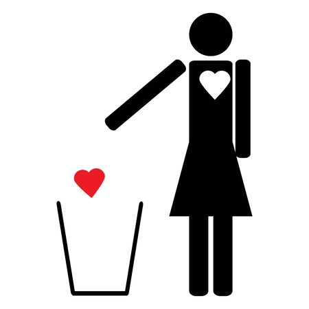 bitterness: The figure of a Woman throws a red heart in the trash love is unrequited
