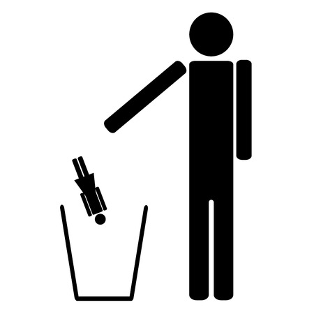 maniac: The man throws out in a recycle bin of the woman symbol pictogram Illustration