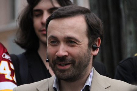 oppositional: Moscow, Russia - on May 27, 2012. The politician Ilya Ponomarev speaks at an oppositional action. After disputable elections the opposition organized many protest actions on streets of Moscow. This meeting - public political club in the fresh air on Stary Editorial
