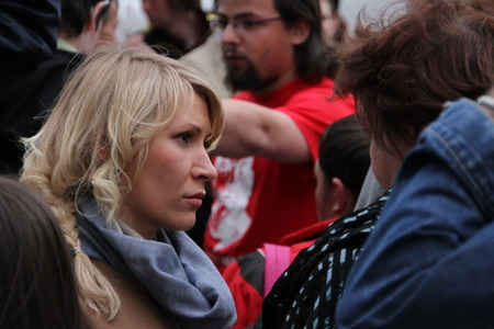 oppositional: Moscow, Russia - on May 27, 2012. The politician Alyona Popova on an oppositional action. After disputable elections the opposition organized many protest actions on streets of Moscow. This meeting - public political club in the fresh air on Stary Arbat S Editorial