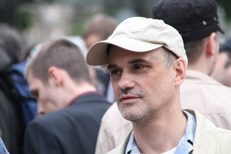 igor: Moscow, Russia - on May 27, 2012. The oppositionist Igor Mandarinov on an oppositional action. After disputable elections the opposition organized many protest actions on streets of Moscow. This meeting - public political club in the fresh air on Stary Ar Editorial