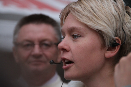 oppositional: Moscow, Russia - on May 27, 2012. The ecologist Evgenia Chirikova speaks at an oppositional action. After disputable elections the opposition organized many protest actions on streets of Moscow.