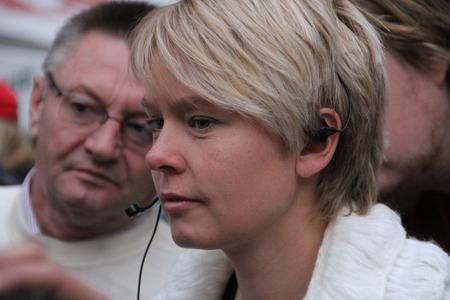 ecologist: Moscow, Russia - on May 27, 2012. The ecologist Evgenia Chirikova speaks at an oppositional action. After disputable elections the opposition organized many protest actions on streets of Moscow.