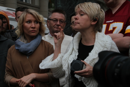 ecologist: Moscow, Russia - on May 27, 2012. The ecologist Evgenia Chirikova speaks at an oppositional action, the politician Alyona Popova nearby.