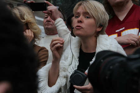 ecologist: Moscow, Russia - on May 27, 2012. Emotional speech of the ecologist Evgenia Chirikova. After disputable elections the opposition organized many protest actions on streets of Moscow.  Editorial