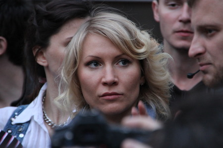 oppositional: Moscow, Russia - on May 27, 2012. The politician Alyona Popova on an oppositional action. After disputable elections the opposition organized many protest actions on streets of Moscow.  Editorial