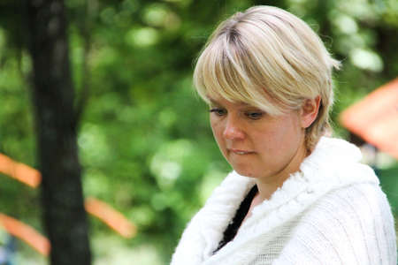 call of nature: Khimki, Moscow region, Russia - July 21, 2012. The leader of the movement to defend Khimki forest policies Evgeniya ChirikovaThe gathering of the Khimki forest defenders and residents in the grove near the source of St. George. The meeting devoted to the