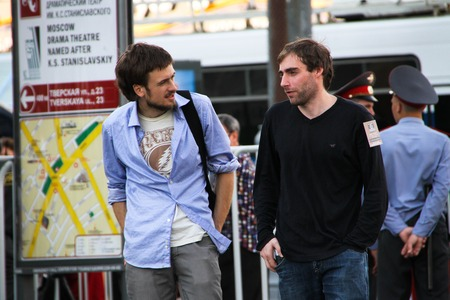 oppositional: Moscow, Russia - July 26, 2012. Political activists Pyotr Verzilov and Boris Beylinson on oppositional meeting. The first meeting in protection of the prisoners arrested for protest events on Bolotnaya Square on May 6, 2012 in Moscow