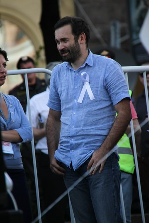 oppositional: Moscow, Russia - July 26, 2012. The oppositional deputy Ilya Ponomarev on oppositional meeting. The first meeting in protection of the prisoners arrested for protest events on Bolotnaya Square on May 6, 2012 in Moscow Editorial