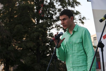 oppositional: Moscow, Russia - July 26, 2012. The writer Sergey Shargunov on oppositional meeting. The first meeting in protection of the prisoners arrested for protest events on Bolotnaya Square on May 6, 2012 in Moscow Editorial